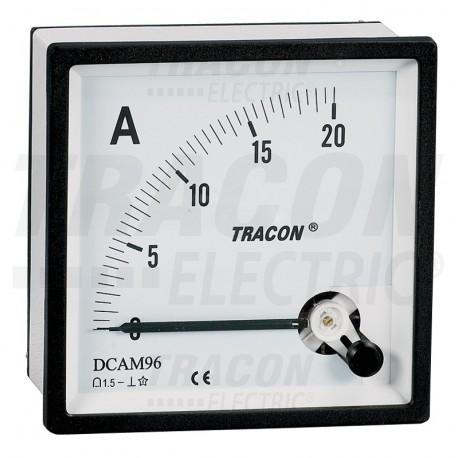 Amperomierz analogowy na prąd stały 48×48mm, 20A DC