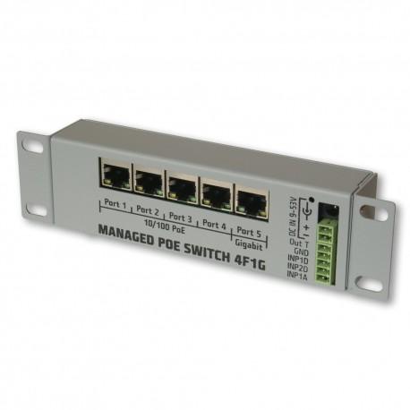 4F1G Managed PoE 9-53V switch 4x100Mb+1Gb