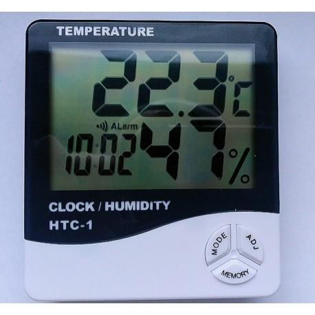 HTC-1 Digital Hygrometer Temperature and Humidity Meter Clock Alarm LCD Display