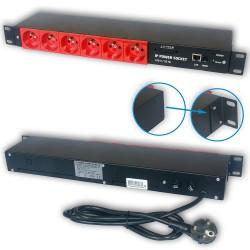 Zarządzalna listwa zasilająca IP Power Socket 6G10A V2 RED