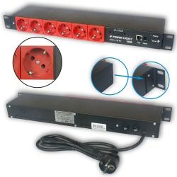 Zarządzalna listwa zasilająca IP Power Socket SCHUKO 6G10A V2 RED