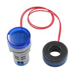 Woltomierz Amperomierz LED 28mm 20-380V/100A niebieski