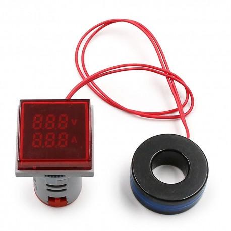 Woltomierz Amperomierz LED 30x30mm 20-500V/100A czerwony