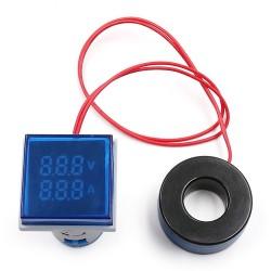 Woltomierz Amperomierz LED 30x30mm 20-500V/100A niebieski