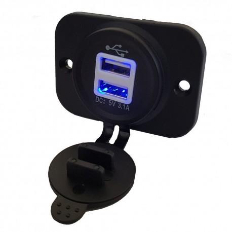 Socket charger USB for mounting 12/24V