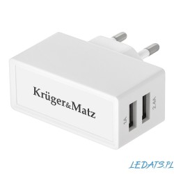Ładowarka sieciowa USB 2x 5V / 2.4A , 1A Kruger&Matz