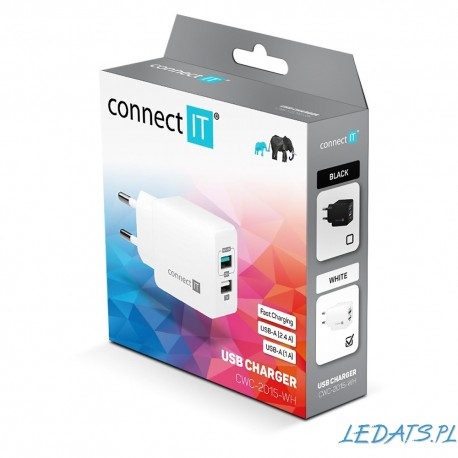 Ładowarka sieciowa USB 2x 5V / 2.4A , 1A connectIT