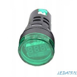 VOLTMETER LED 60-500VAC 28mm GREEN