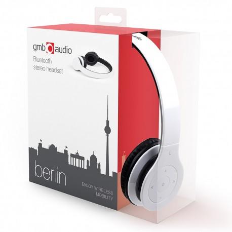 GEMBIRD słuchawki stereo Bluetooth z mikrofonem BERLIN białe