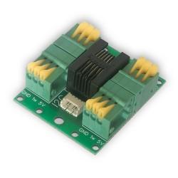Rozdzielacz RJ12: 4x 1-Wire + I2C czujnika DS18B20 do LANKONTROLERA zaciski sprężynowe