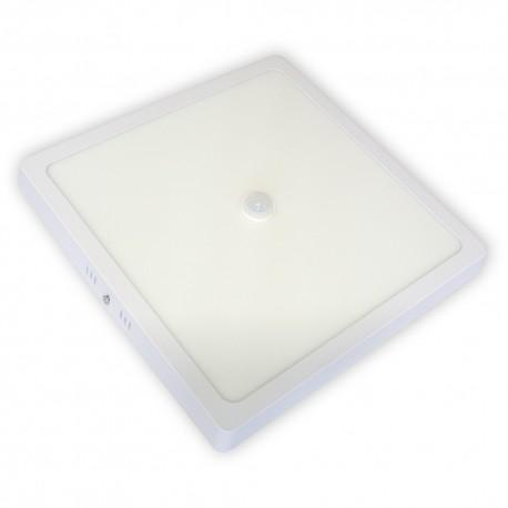Plafon LED 24W / 230 V z czujnikiem zmierzchu i ruchu PIR, kwadrat, natynkowy