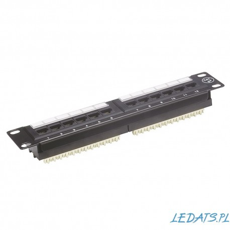 "Patch panel RACK 10"" kat.5e 12p UTP 1U czarny Alantec"