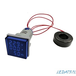Woltomierz-Amperomierz-Miernik częstotliwości LED 30x30 mm 20–500V/100A niebieski