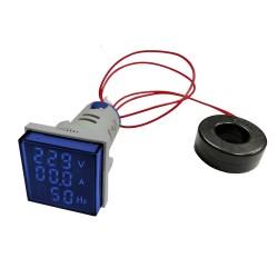 Woltomierz-Amperomierz-Miernik częstotliwości LED 30x30mm 20–500V/100A niebieski